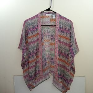 Women's full tilt pink polyester open blouse L